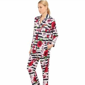 kate spade ♠️ Grosgrain Trimmed Floral Striped PJs